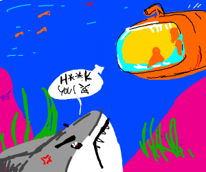 Shark Angry at submarine