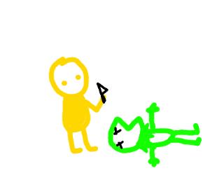 yellow man kills  kermit
