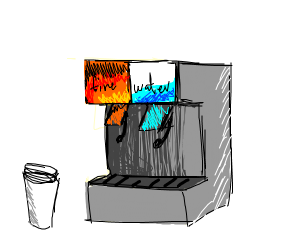 Soda fountain with water and fire