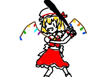Flandre (Touhou) holding a bat