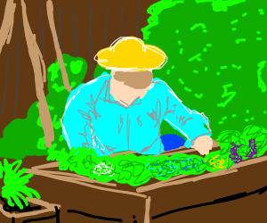 farmer shovels plant