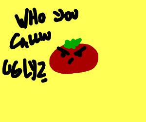 Ugly green unripe tomato man