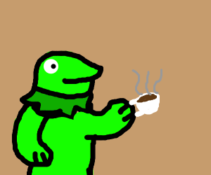 Kermit gets coffee