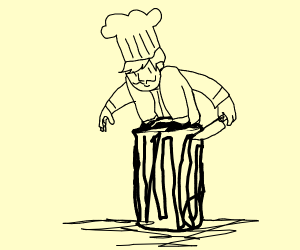 Chef on a trash can