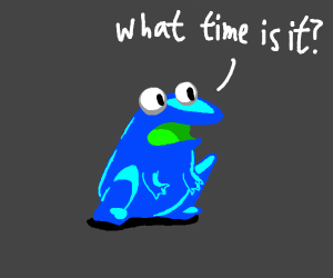 blue frog asking what time it is