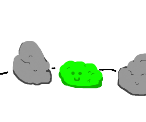 small happy green rock