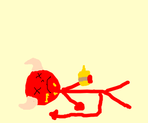 Satan overdosing on mustard