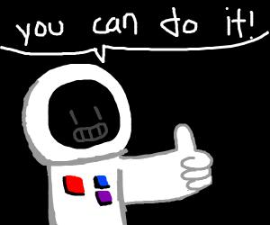 Astronaut giving encouragement
