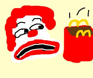 Ronald McDonald sees empty box