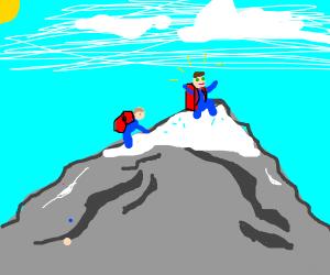 Reaching the peak of the mountain