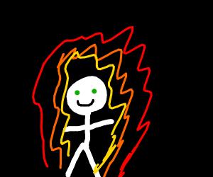clotheless man on fire