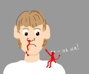 Demon on shoulder laughs at a man's nosebleed