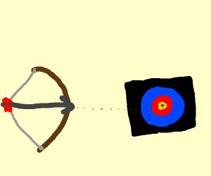 Bow aims at a target