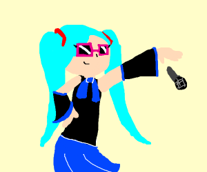 Hatsune miku with pink glasses