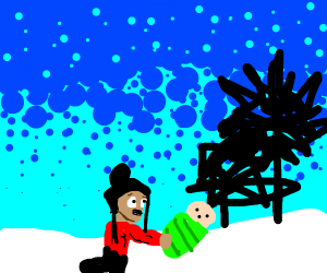 Man Finds A Baby In the Winter Woods