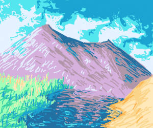The mountains slope gently