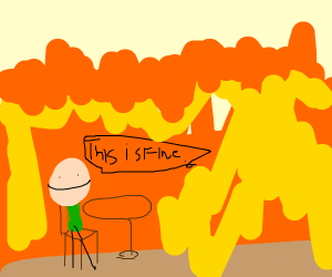"cyanide and hapines guy in fire""this is fine"""