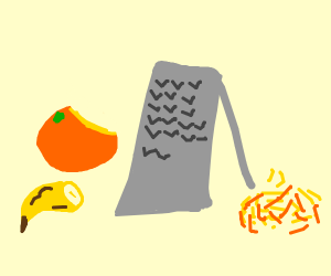 using cheese grater on an orange and banana
