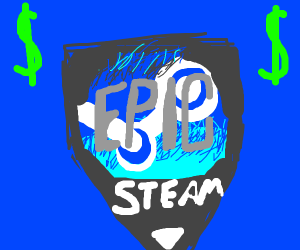 Epic Games launcher logo combined with steam