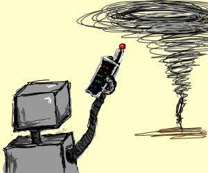Robot controlling a tornado.