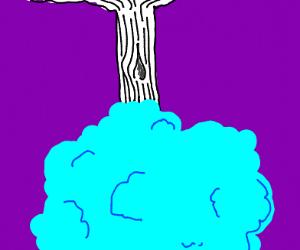 White & blue tree upside down
