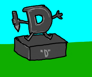 Drawception D statue