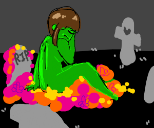 Dead zombie with a lot of flower around him