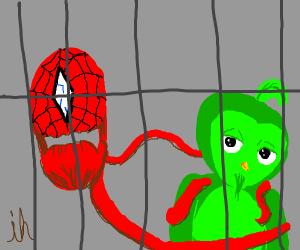 Weird spiderman abomination in cage with birb