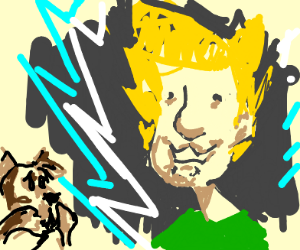 Shaggy goes super saiyan. Scooby is worried,