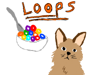 Cat begging for fruit loops ceral