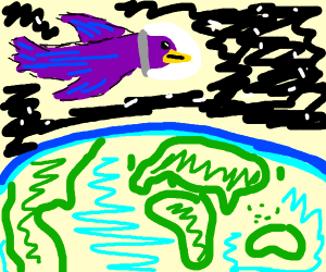 Purple bird astronaut above Earth