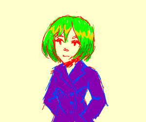 Green haired girl in purple coat.