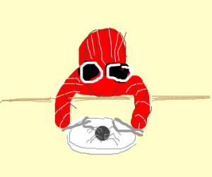 Spiderman eating