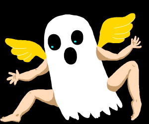 Ghost with arms and legs and yellow wings