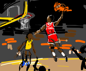 Michael Jordan dunks Garfield