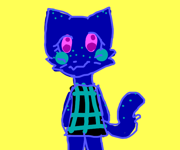 blue cat with patterned shirt