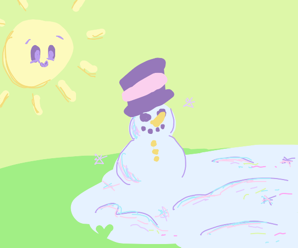 A happy sun looking at a sun patch of snow.