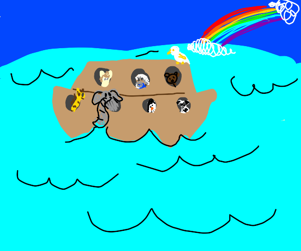 Noah and the animals on his ark