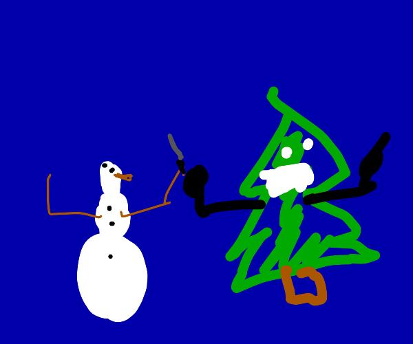 Snowman fighting a Christmas tree