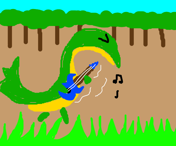Snivy in woods playing guitar