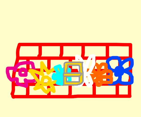 Brick wall with flower belt