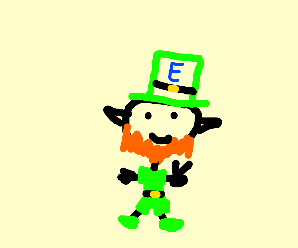 Leprechaun with E on hat does peace sign