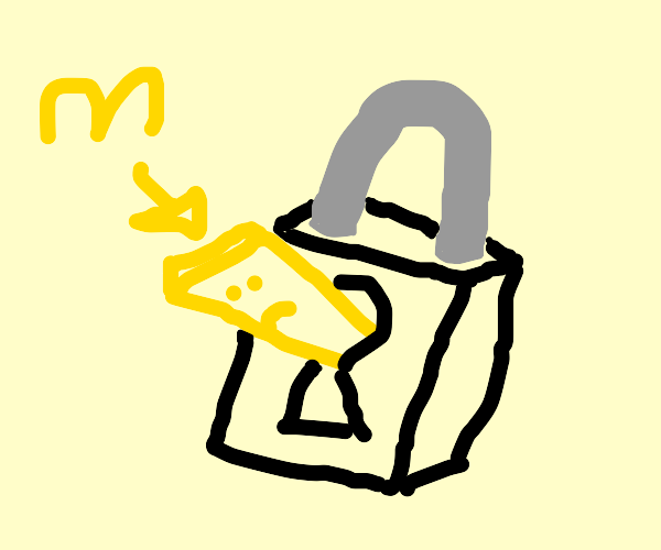 A french fry is stuck on a padlock
