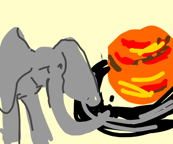 Elephant riding the rings of saturn
