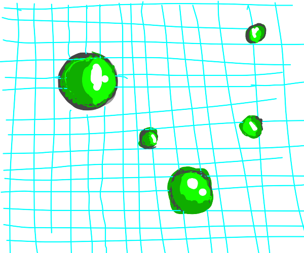 Bubbles on grid paper +1 fuzzy green bubble