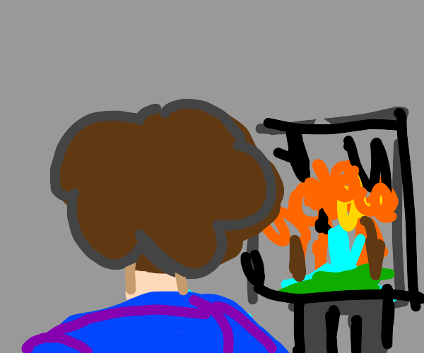 bob Ross draws a burning forest