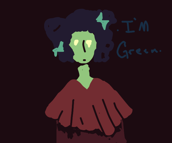 Green woman likes to point out her skin color