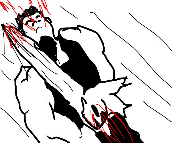 Strong man bleeds