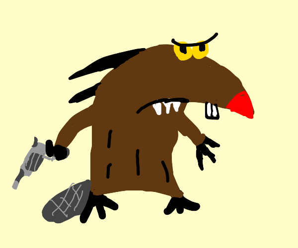 Beaver with gun