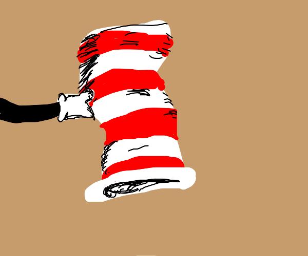 stripey cat in cat in the hat's hat
